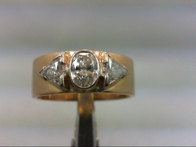 Lady's Diamond Wedding Band 3 Diamonds 1.00 Carat T.W. 14K Yellow Gold 8.27g