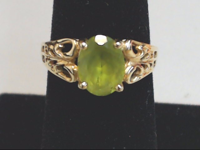 Green Stone Lady's Ring 10K Yellow Gold 2.5g Size:7