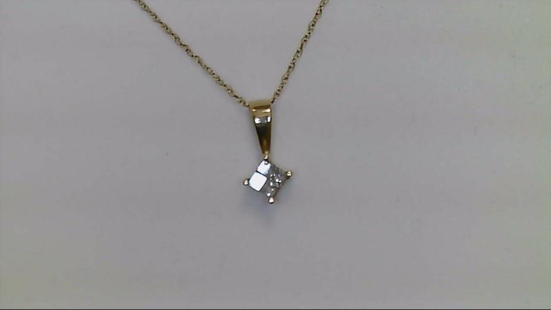 Gold-Multi-Diamond Pendant 4 Diamonds .12 Carat T.W. 10K Yellow Gold 0.8g