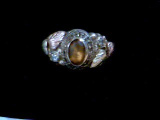 Brown Stone Lady's Stone Ring 10K Yellow Gold 4.9g