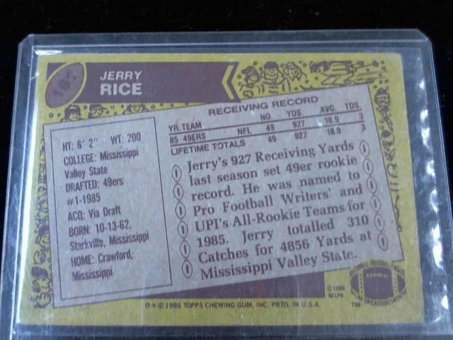TOPPS Sports Memorabilia 1986 JERRY RICE #161