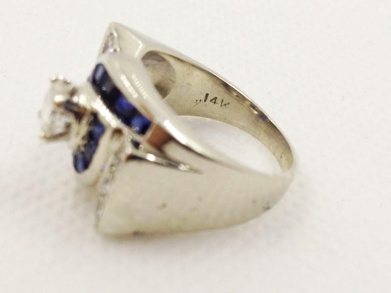 Sapphire & Diamond w 7 Diamonds .67 Carat T.W. 14K White Gold Ring