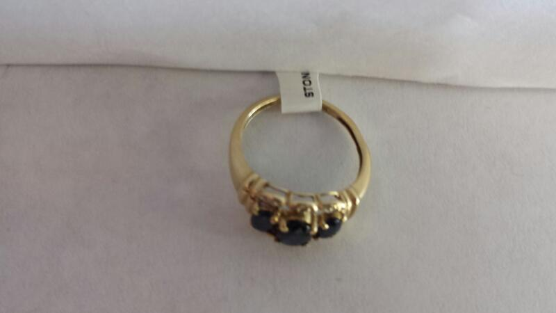 10k Yellow Gold Ring with 3 Blue Stones and 6 Diamond Chips