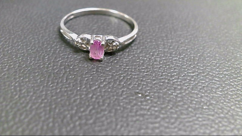 Pink Stone Lady's Stone Ring 10K White Gold 1.2g