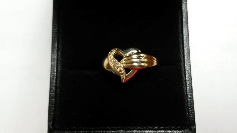 Lady's Diamond Fashion Ring 2 Diamonds .010 Carat T.W. 10K Yellow Gold 1.6dwt