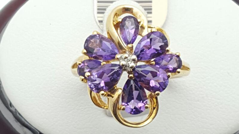 Amethyst Lady's Stone Ring 14K Yellow Gold 3.4g