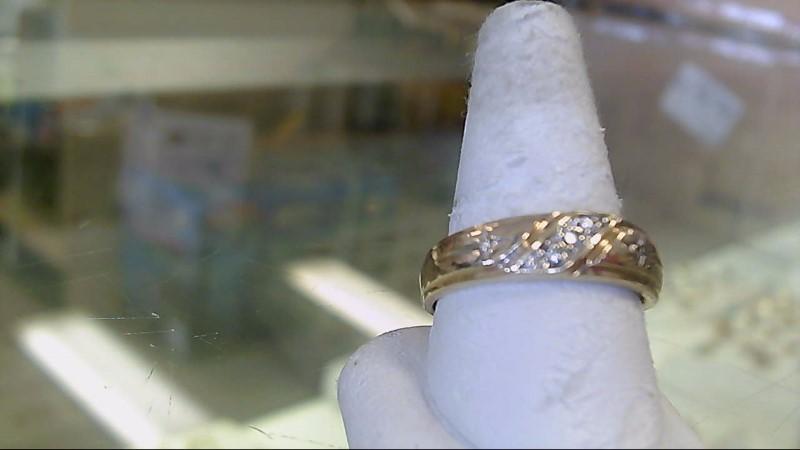 Gent's Gold-Diamond Wedding Band 5 Diamonds .13 Carat T.W. 10K Yellow Gold 3.7g
