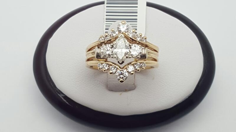 Lady's Diamond Wedding Set 17 Diamonds 1.56 Carat T.W. 14K Yellow Gold 7.7g