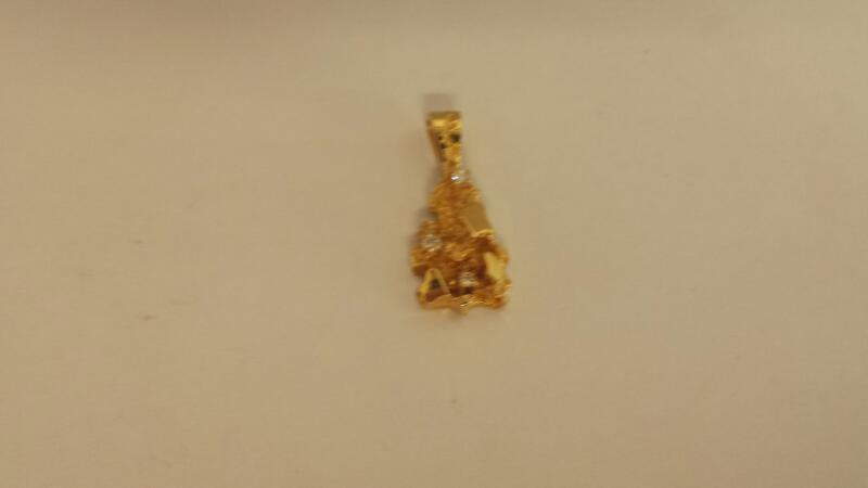 14 KT Gold-Multi-Diamond Pendant NUGGET W/3DIAM 3 Diamonds .03 Carat T.W.