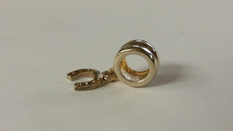 Sterling Silver Gold Toned Horseshoe Dangle European Bead Charm
