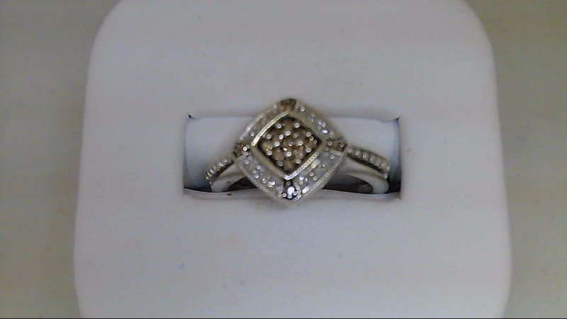 Lady's Silver-Diamond Ring 25 Diamonds .25 Carat T.W. 925 Silver 3.38g