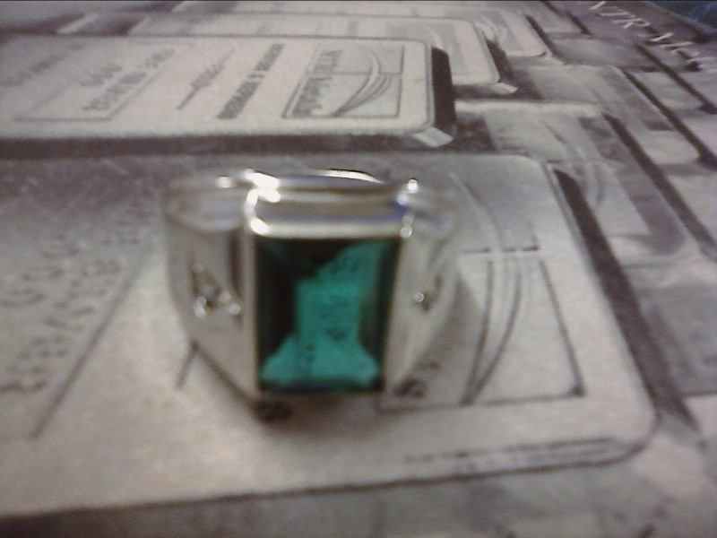 Green Stone Gent's Silver & Stone Ring 925 Silver 3.7dwt Size:10