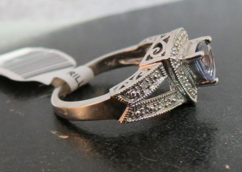 1/3 Carat Trillion Cut Iolite & Pave Diamond Rings 14K White Gold, Size 7