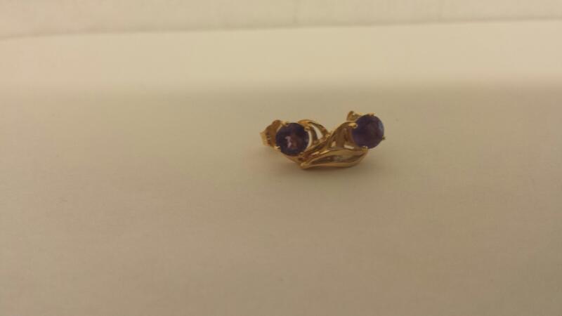 Purple Stone Gold-Diamond & Stone Earrings 2 Diamonds .02 Carat T.W.