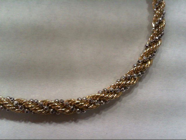 Gold Rope Bracelet 14K 2 Tone Gold 5.3g