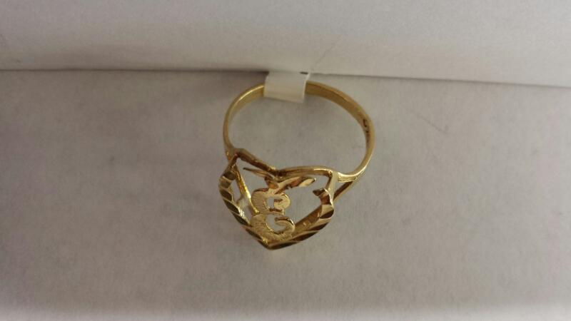 "10k Yellow Gold Ring with an ""E"" Inside a Heart"