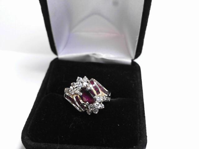 Synthetic Ruby Lady's Stone & Diamond Ring 14 Diamonds .28 Carat T.W.