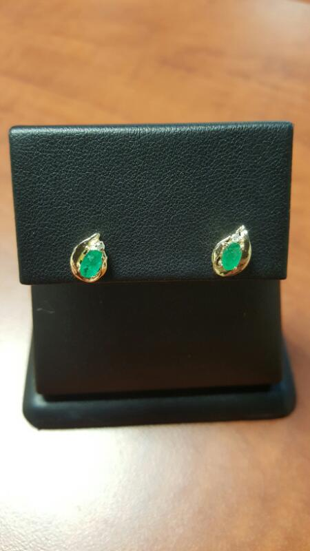 Emerald Gold-Diamond & Stone Earrings 2 Diamonds .02 Carat T.W. 14K Yellow Gold