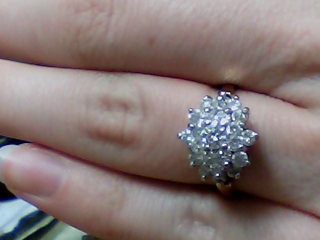Lady's Diamond Cluster Ring 23 Diamonds 1.32 Carat T.W. 14K Yellow Gold 3.1g