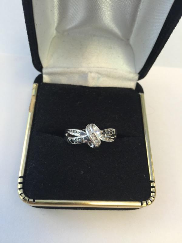 Lady's Silver-Diamond Ring 16 Diamonds .32 Carat T.W. 925 Silver 3dwt