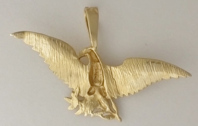 Michael Anthony MA 14k Yellow Gold Diamond Cut Eagle Olive Branch Pendant