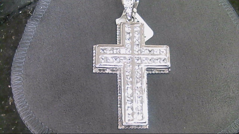 ESTATE SS PC AND RD CZ CROSS PENDANT