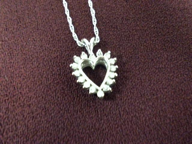 Diamond Necklace 16 Diamonds .16 Carat T.W. 14K White Gold 2.2g