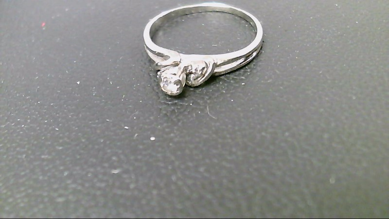 Lady's Diamond Engagement Ring 3 Diamonds .07 Carat T.W. 10K White Gold 1.9g