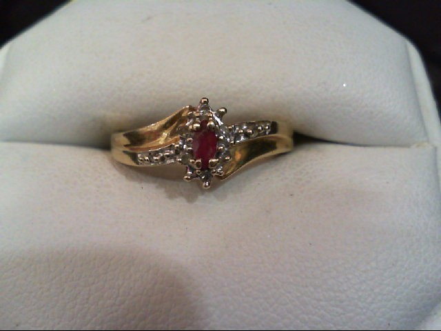 Ruby Lady's Stone & Diamond Ring 8 Diamonds .040 Carat T.W. 10K Yellow Gold