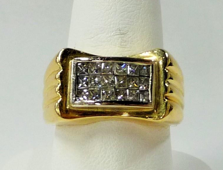 Gent's Diamond Fashion Ring 18 Diamonds 1.80 Carat T.W. 14K Yellow Gold 8.51dwt