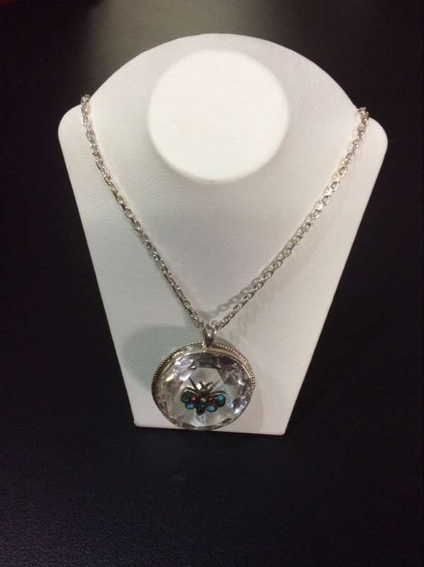 Butterfly Pendant Round White Stone Necklace 925 Silver