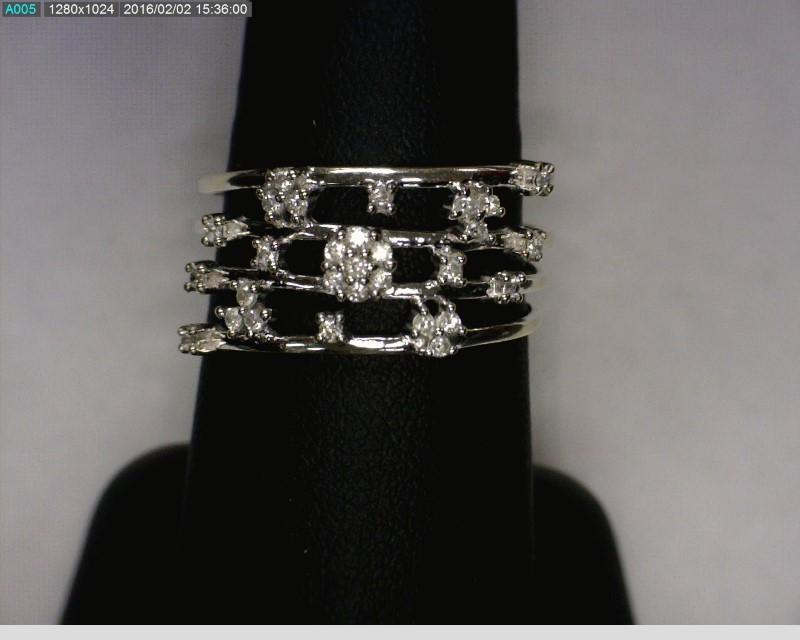 Lady's Diamond Cluster Ring 29 Diamonds .29 Carat T.W. 14K White Gold 2.1dwt