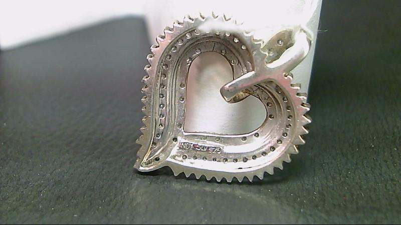 Silver-Diamond Pendant 98 Diamonds .98 Carat T.W. 925 Silver 5.1g