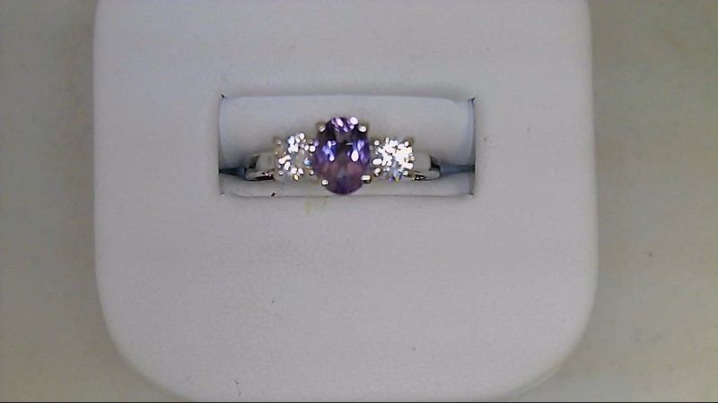 Synthetic Amethyst Lady's Silver & Stone Ring 925 Silver 2.7g