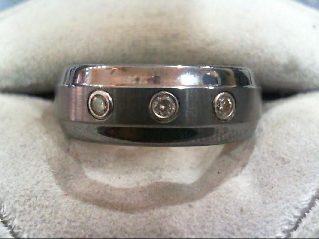 Gent's Diamond Ring 3 Diamonds .15 Carat T.W. Black Tungsten 16.7g