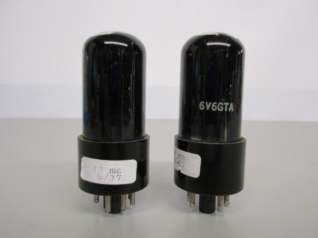 MATCHED PAIR 6V6GTA SMOKED GLASS POWER TUBES, TEST GOOD.