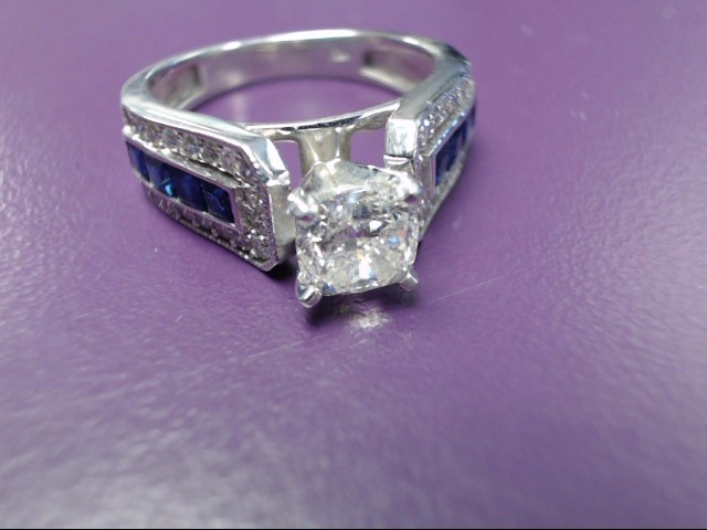 Sapphire Lady's Stone & Diamond Ring 37 Diamonds 1.11 Carat T.W. 14K White Gold