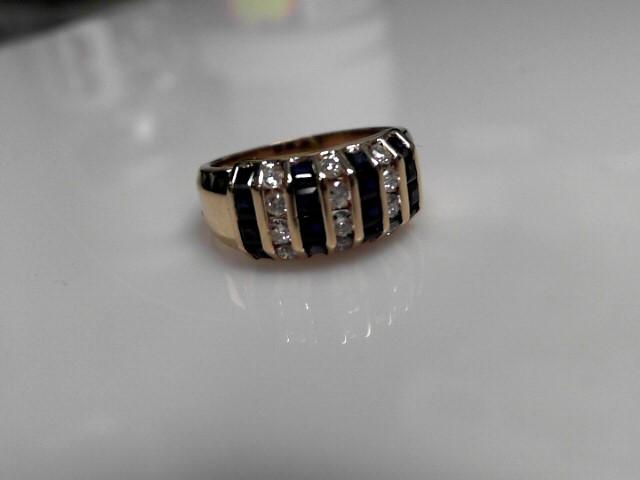 Sapphire & Diamond Ring 15 Diamonds .30 Carat T.W. 14K Yellow Gold