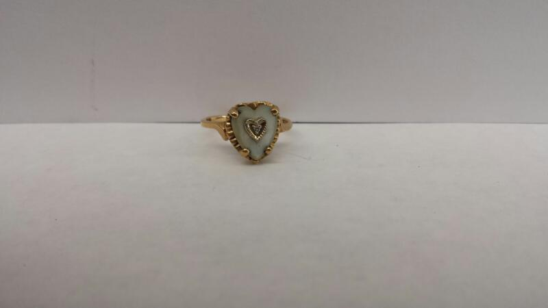10k Yellow Gold Ring with 1 Heart and 1 Diamond Chip