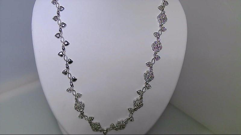 ESTATE WG 3/4CTTW ROUND DIAMOND FLOWER HEART DESIGN NECKLACE