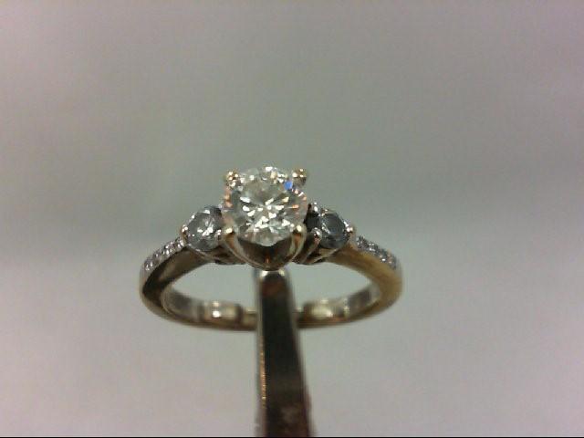 Lady's Diamond Engagement Ring 11 Diamonds .75Carat T.W. 18K White Gold 3.97g