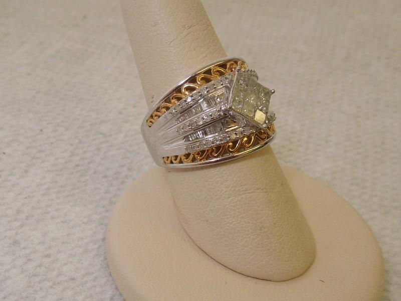 Lady's Silver-Diamond Ring 97 Diamonds 2.18 Carat T.W. 925 Silver 7.7g Size:7.5