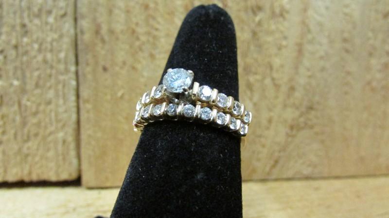 Lady's Diamond Wedding Set 20 Diamonds 1.44 Carat T.W. 14K Yellow Gold 6g