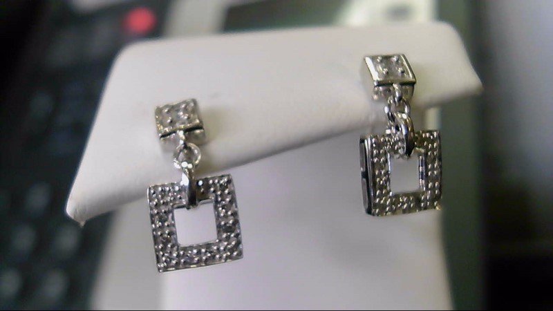 lady's 14k white gold diamond square look dangle earrings