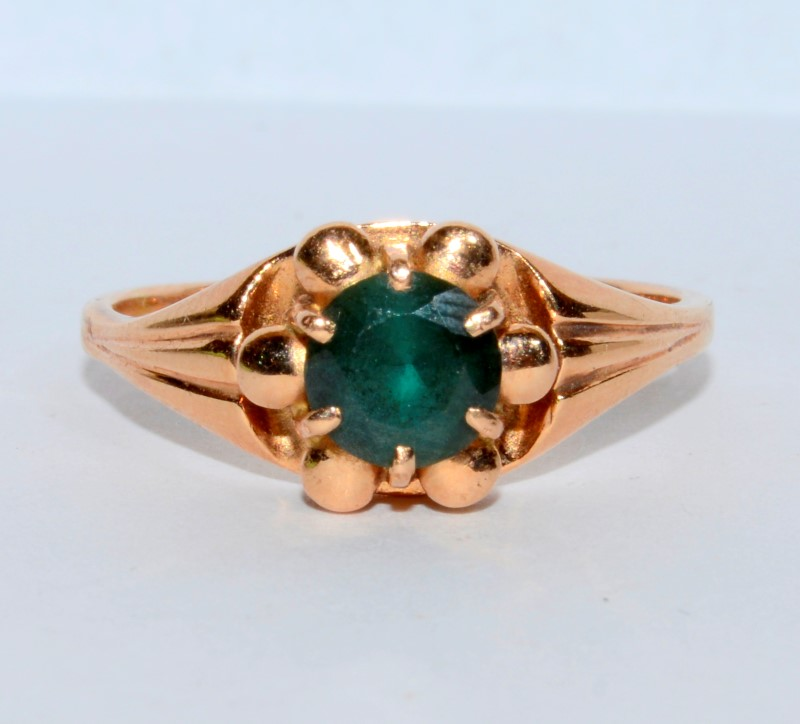 Emerald Lady's Stone Ring 14K Rose Gold 3.55g