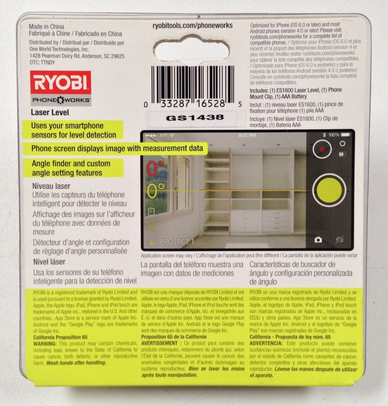 RYOBI LASER LEVEL ES1600 CONNECTS TO CELL PHONE