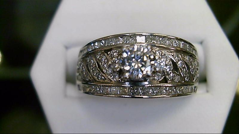 Lady's Diamond Fashion Ring 65 Diamonds .91 Carat T.W. 14K White Gold 5.3g