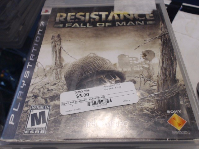 SONY PS3 RESISTANCE OF MAN