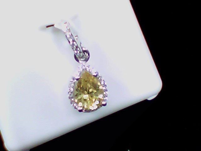 Yellow Stone Silver-Stone Pendant 925 Silver 1.5g