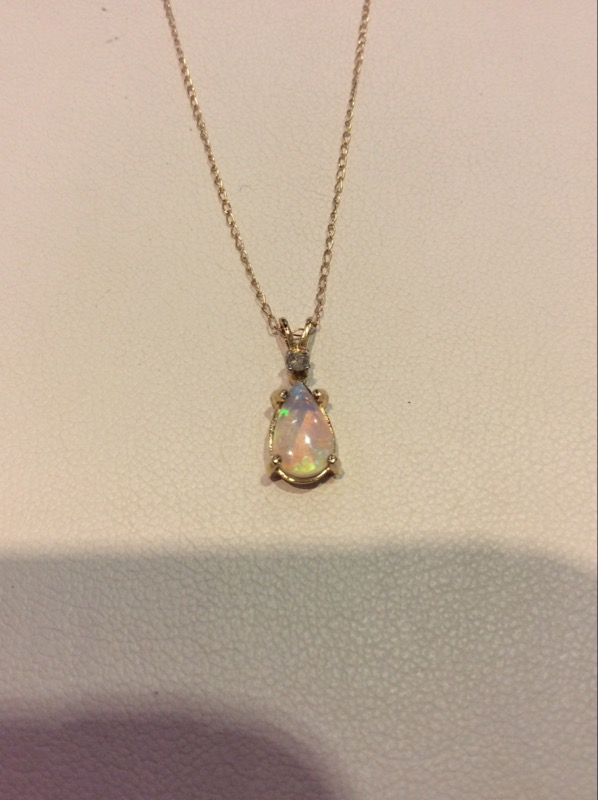 Yellow Gold Pearl Shaped Opal Necklace